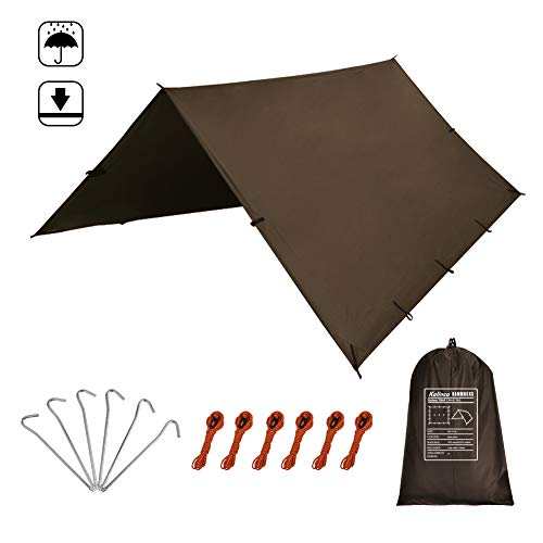 Polyester 190t - Kalinco Rain Fly Tarp Tent Camping Shelter 10 x 10ft 10 x 15ft,6pegs & 6ropes 190T Polyester with PU Waterproof Coating Drawstring Carrying Bag Sunshade Mutifunctional Tent