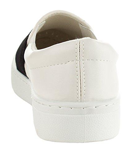 Qupid Womens Fashion Metallic Shiny Slip On Flatform Platform Low Top Sneaker White hHuWE