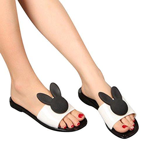 Été Plage Plat Gelée Chaussures Perle Casual Femmes Diapositives Sandales Par Chéri Temps Noir Lapin