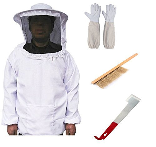 Bee Keeper Costume (LORJE Beekeeping Bee Keeping Suit Jacket&Gloves& Bee Hive Brush & J Hook Hive Tool Set)