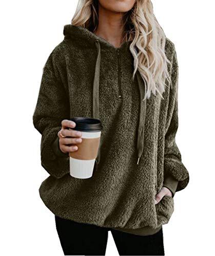 - Asskdan Women's Teddy Fleece Long Sleeve Hoodie Hooded Sweatshirt Drawstring Pullover Fuzzy Velvet Sweater Outwear (L, Green)