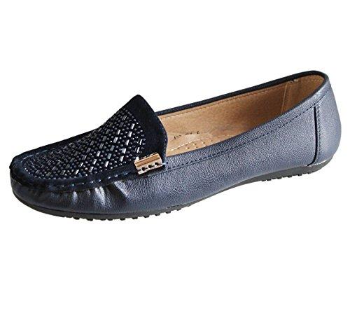 Espadrilles Pumper Uformell Komfort Flate Diamante Kvinners Loafers Blå Damene Sko Sommer 84TcH
