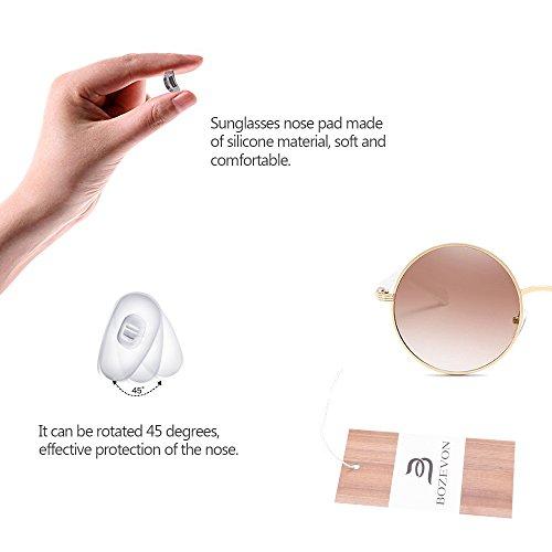 para Círculo sol marrón Retro Redonda Estilo Gafas Mujeres las de BOZEVON Lente Dorado Ewnqx8X78d