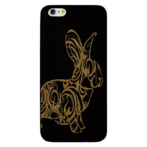 JewelryVolt Wooden Phone Case for iPhone 7 Plus Black Wood Laser Engraved Animal Floral Swirls Bunny Rabbit
