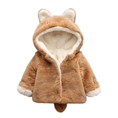 Price comparison product image GBSELL Newborn Baby Boys Girls Winter Warm Clothes Hooded Coat Cloak Jacket with Tail (Khaki, 18-24 Month)