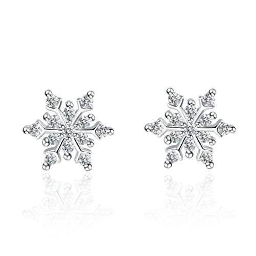 Dozen Plated Silver (FriendShip Shop Temperament Girl Earrings Snowflake Zircon Earrings Christmas Gift)