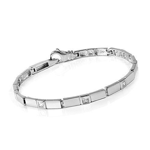 MATERIA 925 argent bracelet avec 8/11,1 cm - 18,5 g-collier argent rhodié et satiné en allemand juwelieranfertigung bijoux - 4-oui