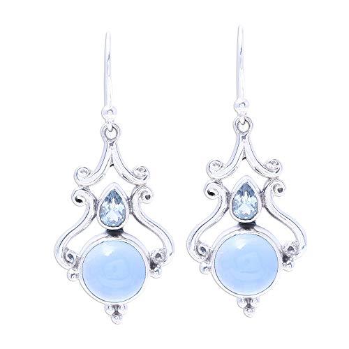 NOVICA Multi-Gem Chalcedony .925 Sterling Silver Dangle Earrings, Blue Radiance' (Blue Chalcedony Earrings Topaz)