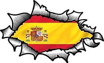 Ovalado Efecto Rasgado Abierta Desgarrado Efecto Metal Diseño con Español España Bandera Del País Pegatina Vinilo Coche 150x90mm: Amazon.es: Coche y moto