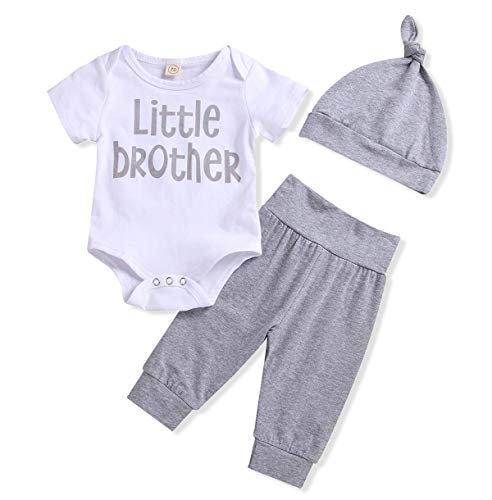 Newborn Baby Boys Christmas Outfit Little Brother Cute Romper Tops + Striped Pants with Hat 3Pcs Clothes Set (White +Gray, 0-3 Months) -