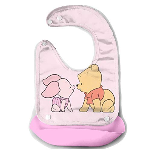 (Baby Bib- Stylish Winnie The Pooh And Piglet Silicone Baby Bib Removable Unisex Bibs For Toddler Wipe)
