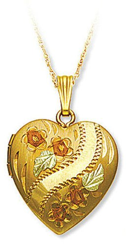 Landstroms 14/20 Gold-Filled Heart Locket with Roses and 12k Gold Leaves, 18