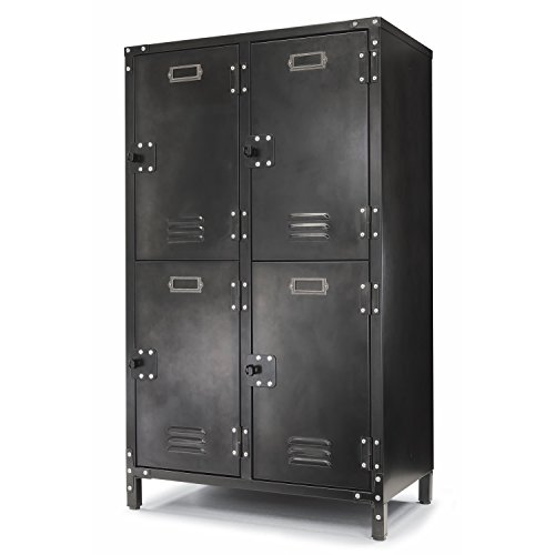 Allspace 4 Door Steel Storage Locker with Dark Weathered Finish, Vintage, Industrial, for Home, Office, School, Dorm, Teen, Crafts, Shop, Vented, Lockable, Stackable, Durable - 240003 from Allspace