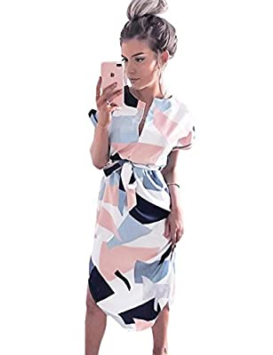 Maygold Womens Summer Casual V-Neck Geometric Pattern Belted Midi Pencil Dresses