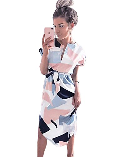 Poptem Womens Summer Casual V-Neck Geometric Pattern Belted Midi Pencil Dresses White Small Belted V-neck Tunic