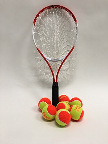 Oncourt Offcourt Catching Tennis Racquet Helps Beginners Focus on Volleys and Serves/Holds Up To 20 Balls