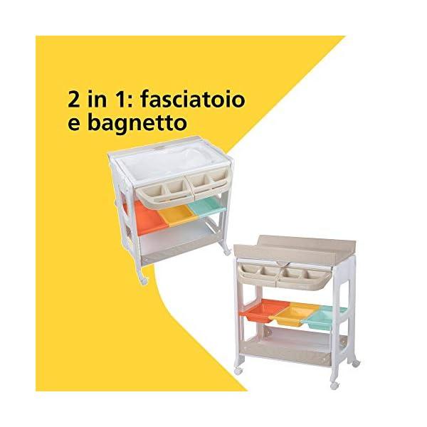Safety 1st Dolphy Fasciatoio con vaschetta per bagnetto neonato, con materassino imbottito incluso, colore warm gray 2