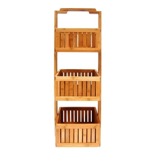 Organize It All basket bamboo bathroom storage, Brown