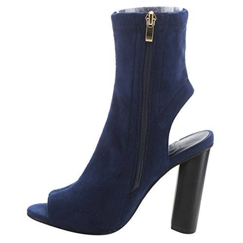 BETANI Womens Peep Toe Cut Out Open Back Heel Zipper Bootie Blue 1vHwECDDm2