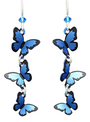Sienna Sky Hypo-Allergenic 3D Butterfly Fish Hook Earrings (3-Tiered Blue Morpho)