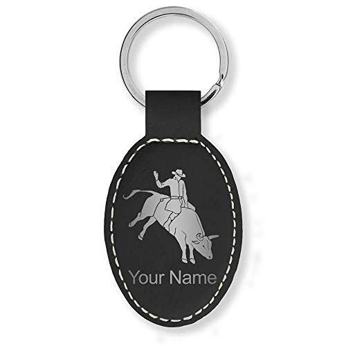 (Oval Keychain, Bull Rider Cowboy, Personalized Engraving Included (Black with Silver))