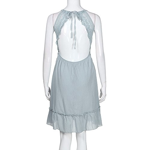 レディース深いVネック バックレスホルターネック 夕方ビーチパーティードレスのサンドレス 洋服 無地 パーティー 披露宴 BY-YOKINO4301 (S, ブルー)