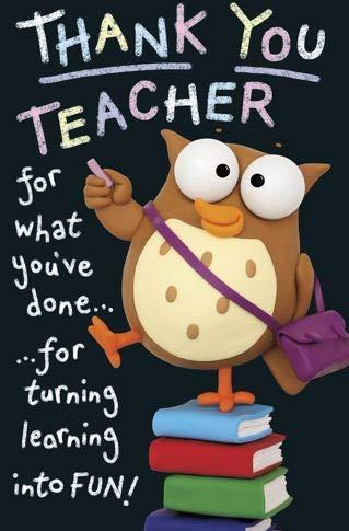 Tarjeta de agradecimiento para maestro, diseño de búho sobre ...