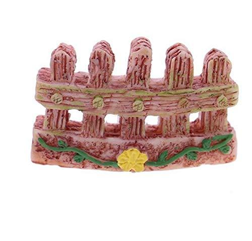 Mings Cinq rangées de barrières de jardin féeriques miniatures pointues Ornement Bonsaï (jaune)