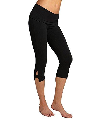 Hard Tail Side Slinger Rolldown Cropped Yoga Pants, M, Black