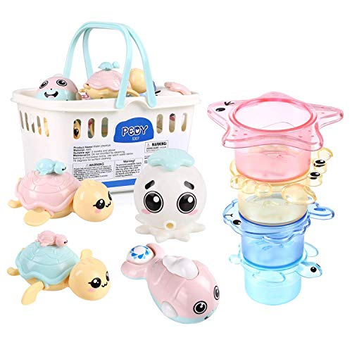 Pedy Baby Floating Pool Toys Stacking Cups, Clockwork Bath Toys Turtle, Water Spray Octopus, Baby Bath Toys Set Tub Toys Organizer, Baby Bath Gift for Toddlers, Infant, Girls, Boys, Kids, - Bath Infant Toy Turtle