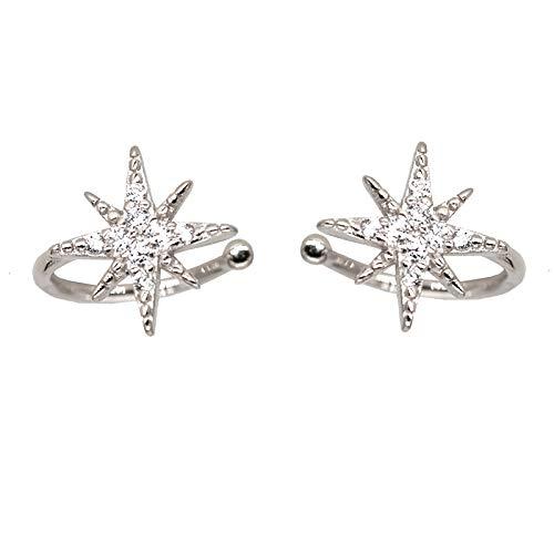 - Star Rhinestone Clip on Earrings Women No Piercing Snowflake Shinning Fashion Party Ear Jacket Jewelry Silver