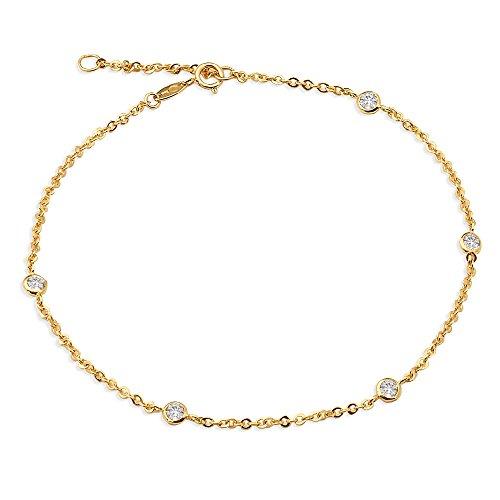 - LOVEBLING 10K Yellow Gold 1.8mm Diamond Cut Rolo Chain 5 CZ Stone pendants Anklet Adjustable 9