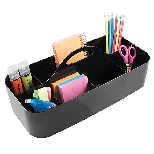 mDesign Large Office Caddy Storage Container & Organizer Tote with Built-in Handle for Gel Pens, Pencils, Markers, Erasers, Staplers - Black