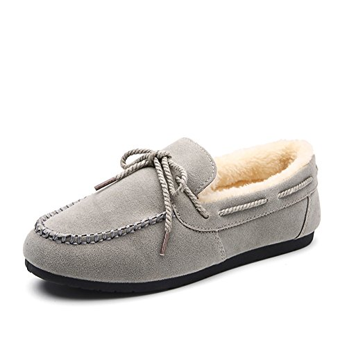 KONHILL Women's Plush Lined Moccasin Slippers Slip On Loafer Casual Indoor House Shoes, 39, Gray