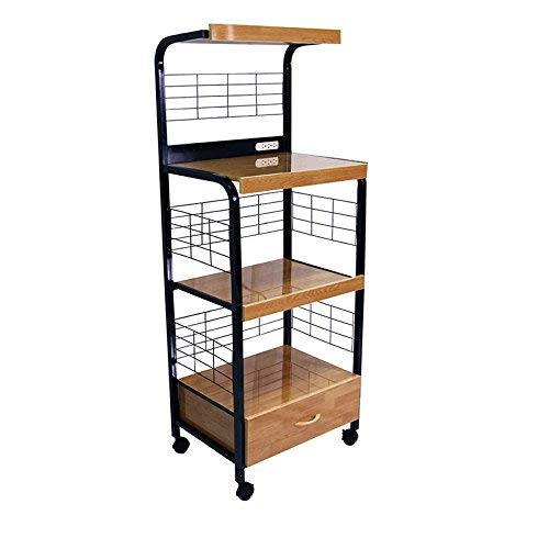 Ore International Black Microwave Cart on Wheels and with 2 Outlets, 60