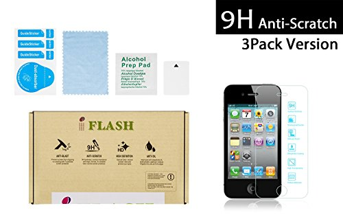 iFlash 3 Pack of Premium Tempered Glass Screen Protector For Apple iPod Touch 4th Generation - Transparent Crystal Clear / 2.5D Rounded Edges / 9H Hardness / Scratch Proof / Bubble Free / Oleophobic Coating / 0.3mm Thickness (3Pack, Retail Package) ()