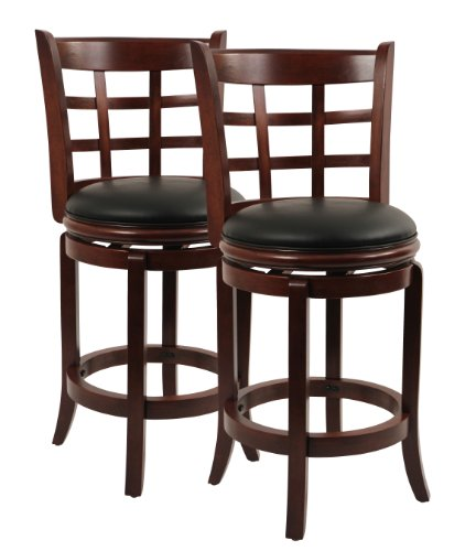 Boraam 1224 Kyoto Counter Height Swivel Stool, 24-Inch, Cherry, 2-Pack - 24 Black Cherry Counter
