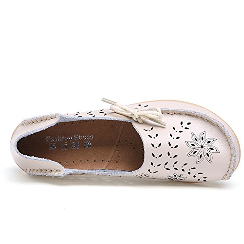 Woman Spring Fall Comfortable Slip-on Beanie Flats Driving Zapatos Shoes Beige tnSQ7
