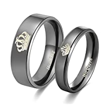 Amazing Her King His Queen Titanium Stainless Steel Wedding Band Set Anniversary Engagement Promise Ring