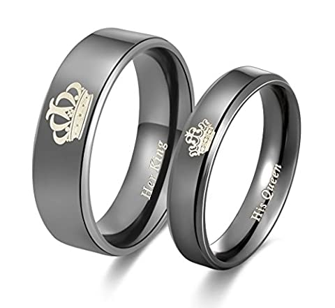 Amazing Her King His Queen Titanium Stainless Steel Wedding Band Set Anniversary Engagement Promise (Promise Rings Under 10)