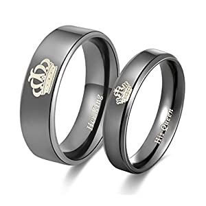 Global Jewelry Amazing Her King His Queen Titanium Stainless Steel Wedding Band Set Anniversary Engagement Promise Ring