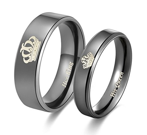 Amazing Her King His Queen Titanium Stainless Steel Wedding Band Set Anniversary Engagement Promise Ring ()