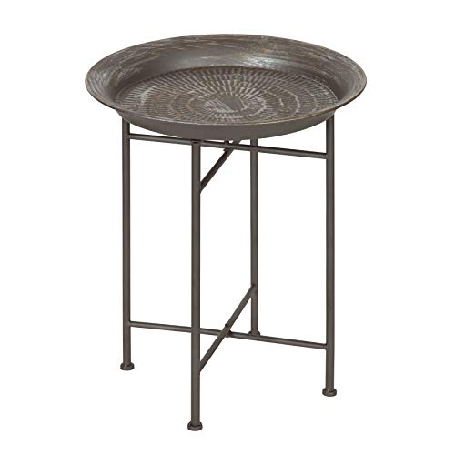 Kate and Laurel Mahdavi Round Hammered Metal Accent Table, 16.5 Diameter, Pewter