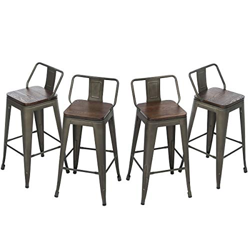 HAOBO Home Swivel Counter Bar Stools Industrial Metal Barstools Dining Chair Set of 4 26 , Swivel Rusty
