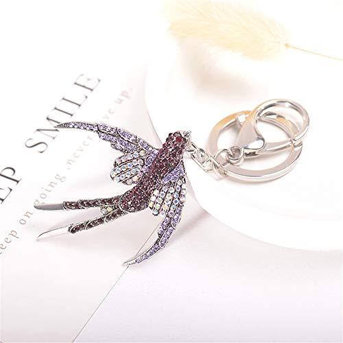Cute Kawaii Rhinestone Swallow Shape Auto Car Key Ring Hooks Keychain for Women Purse Bag Charms Ornaments ()
