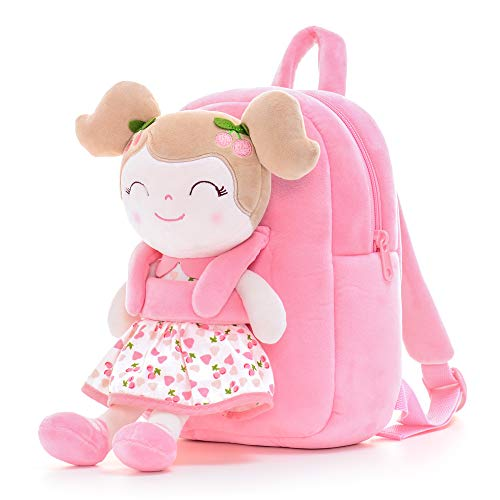 Gloveleya Kids Backpack Toddler Backpack Plush Backpack with Soft Doll Cherry Girl Pink 9 Inches