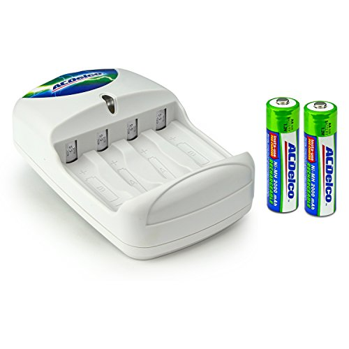 ACDelco AA and AAA Battery Charger for Rechargeable Batteries Includes Two AA Rechargeable Batteries