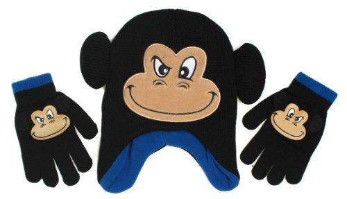 ABG Critter Monkey Scandinavian Beanie Hat and Gloves Set, Boys 3+