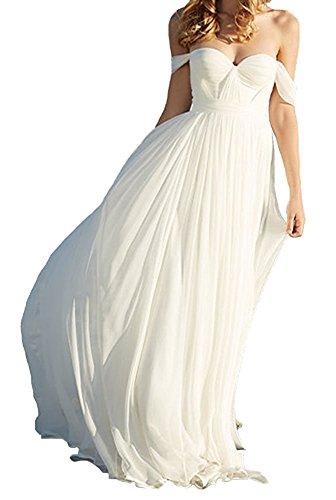 Amore Bridal Elegant Empire Off Shoulder Long Chiffon Bridesmaid Beach Wedding Dress White, (Impression Bridal Bridal Dress)