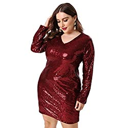 Plus Size V Neck Full Sleeves Wine Red Cocktail Dress